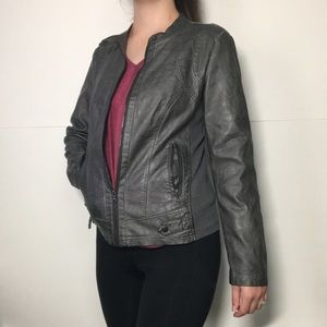 Sebby Faux Grey Leather Jacket With Knit Inserts